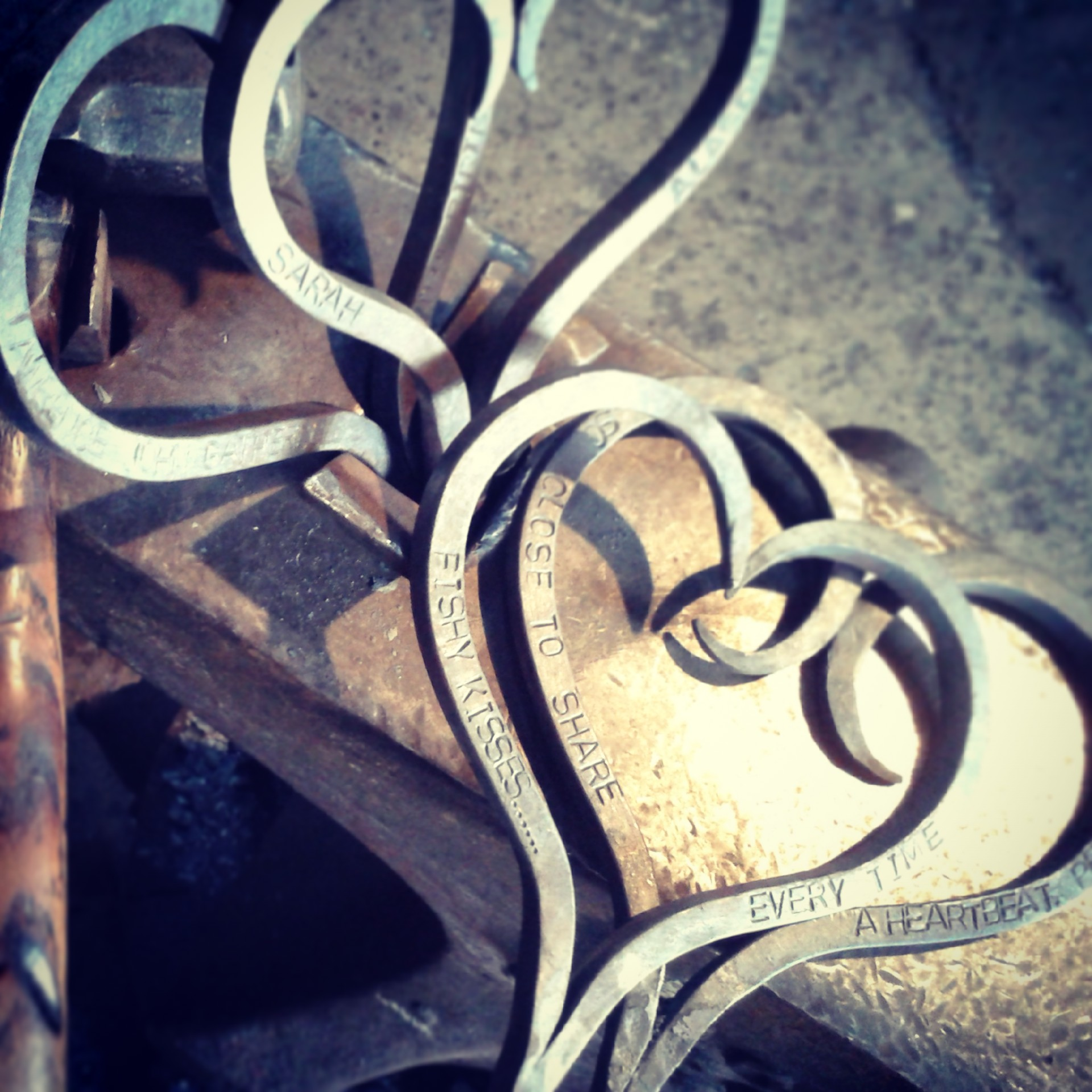 Bespoke personalised hearts from the Malham Smithy