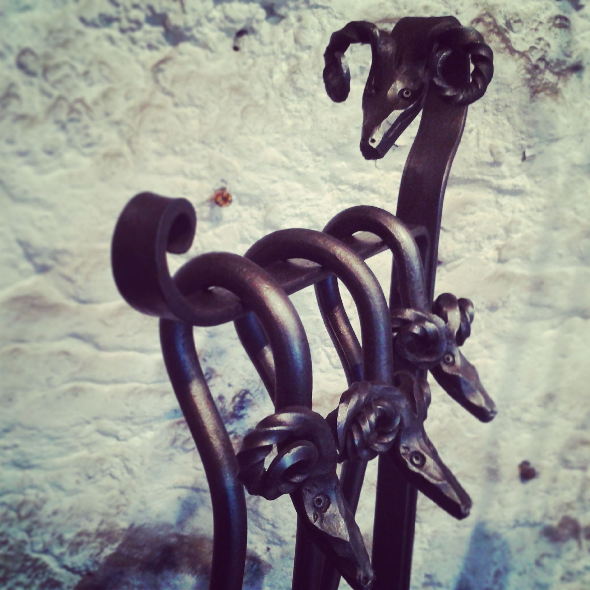 Rams head rivet stand fire tools at the Malham Smithy